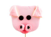 Pink marshmallow pigs head Royalty Free Stock Photography