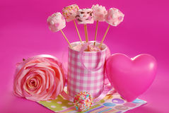 Pink marshmallow pops for valentine Royalty Free Stock Photography