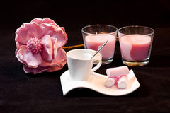 Pink marshmallow, rose and candles. Stock Photos