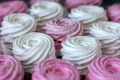 Pink marshmallows background Royalty Free Stock Photo