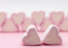 Pink marshmallows close up Stock Images