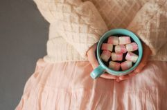 Pink marshmаlow cozy dreams of a young girl. Pink marshmelow, cozy dreams of a young girl,  appetizing, tender pastel tones, photo for background.The girl is Royalty Free Stock Images