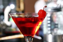 Pink martini cocktail in a bar Royalty Free Stock Photography