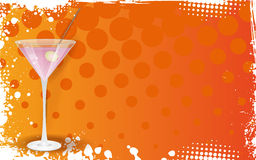 Pink martini on grunge orange background Stock Photos