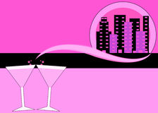 Pink martinis and skyline illustration Stock Photos