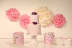 Pink marzipan cake Royalty Free Stock Images