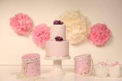 Pink marzipan cake Royalty Free Stock Images