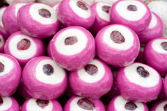 Pink marzipan in a fairground stall Stock Photography