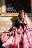 A Pink Masquerader in Venice Stock Photos