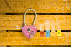 Pink master key and love alphabet Stock Image