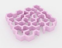 Pink maze, complex way to find exit. Royalty Free Stock Images