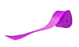 Pink measuring tape - clipping path. Isolated Stock Photo