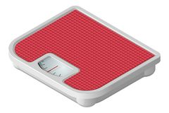 Pink mechanical floor scales in isometric view. Vector illustration. Isolated on white background stock illustration