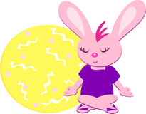 Pink Meditation Rabbit Royalty Free Stock Photo