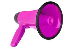 Pink megaphone on white background isolated closeup, hand loudspeaker design, purple loudhailer or speaking trumpet illustration stock photography