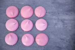 Pink meringues with copy space Stock Photography