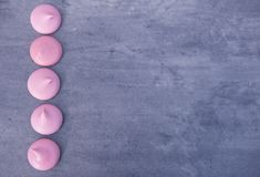 Pink meringues with copy space Royalty Free Stock Image