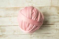 Pink merino wool ball Royalty Free Stock Images