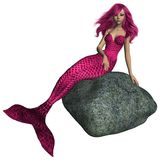 Pink Mermaid Sitting on a Rock Stock Image