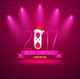 Pink Merry christmas and happy new year 2017 card.. Vector illustration Royalty Free Stock Photo