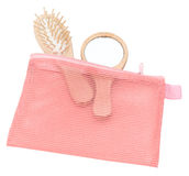 Pink mesh cosmetic bag Royalty Free Stock Images