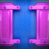 Pink metal and blue wood background Royalty Free Stock Photo