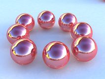 Pink Metallic Balls. Arranged in a circle Stock Photos