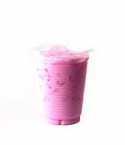 Pink milk. Pink milk shakes with ice Royalty Free Stock Image