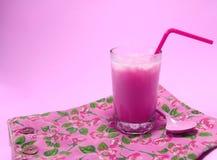 Pink milk. Pink milk shakes with ice Stock Photos
