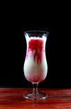Pink milk. Pink milk shakes with ice Stock Photo