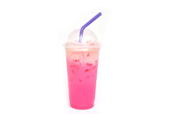 Pink milk sweet drink isolated on white background Royalty Free Stock Photography