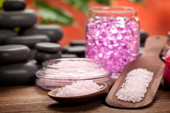 Pink minerals and black stones Royalty Free Stock Image