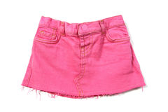 Pink mini jeans skirt Stock Photo