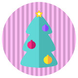 Pink and mint fir tree flat style  icon. Retro style Christmas or New Year stamp or logo with fir tree. Ornament fir tree icon on round background. Flat style Royalty Free Stock Image