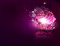 Pink mirror ball and reflection. Background with a mirror ball and reflection Royalty Free Stock Photo
