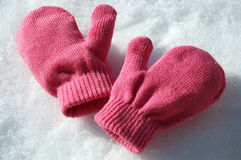 Pink Mittens Stock Photo