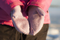 Pink Mittens Stock Images