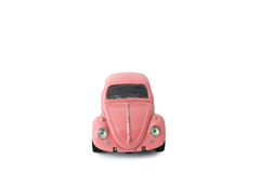 Pink model car, Toy. Bangkok, Thailand - March 26 2017:  Volkswagen beetle model, front of old pink car on white background, Isolated Stock Photography