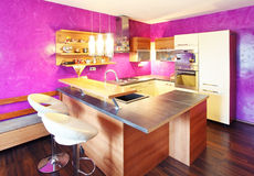 Modern Kitchen with bar Royalty Free Stock Images
