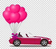 Pink modern opened cartoon cabriolet car with bunch of rose ball. Pink modern opened cartoon cabriolet car with bunch of rose helium heart shaped balloons with Royalty Free Stock Photography