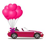 Pink modern opened cartoon cabriolet car with bunch of rose ball. Pink modern opened cartoon cabriolet car with bunch of rose helium heart shaped balloons with Stock Photography