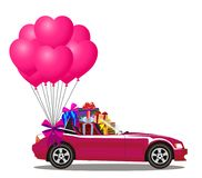 Pink cartoon cabriolet car with presents and bunch of  balloons. Pink modern opened cartoon cabriolet car with presents and bunch of rose helium heart shaped Stock Images
