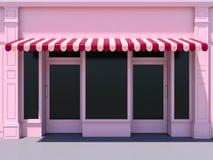Pink modern shopfront in the sun Stock Photo
