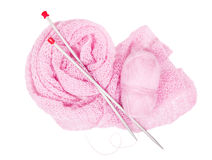 Pink  mohair , knitting needlesis and pink knitted linen Royalty Free Stock Photo