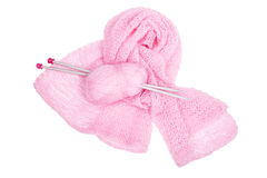 Pink  moher, knitting needlesis and pink knitted linen Royalty Free Stock Images