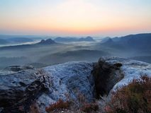 Pink moment before daybreak in Saxony Switzerland park Stock Photography