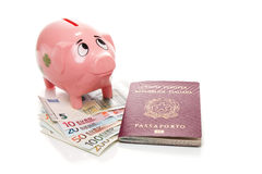 Pink money pigg with Euro Stock Images