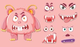 Pink monsater with different facial expression. Illustration stock illustration