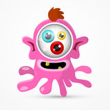 Pink Monster - Alien Illustration. Abstract Vector Pink Monster - Alien Illustration Isolated on White Background Royalty Free Stock Image