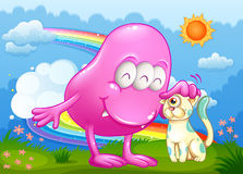 A pink monster and a cat Royalty Free Stock Photos